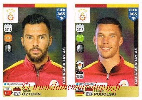 2015-16 - Panini FIFA 365 Stickers - N° 787-788 - Yasin ÖZTEKIN + Lukas PODOLSKI (Galatasaray AS)