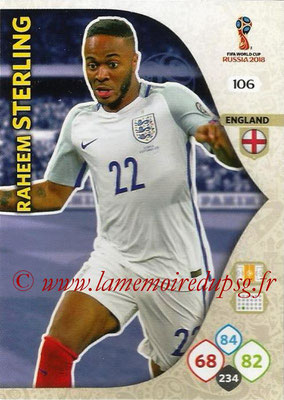 2018 - Panini FIFA World Cup Russia Adrenalyn XL - N° 106 - Raheem STERLING (Angleterre)