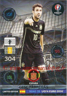 Panini Road to Euro 2016 Cards - N° LE-CF - Cesc FABREGAS (Espagne) (Limited Edition)