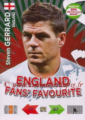 2014 - Panini Road to FIFA World Cup Brazil Adrenalyn XL - N° 195 - Steven GERRARD (Angleterre) (Fan's Favourite)