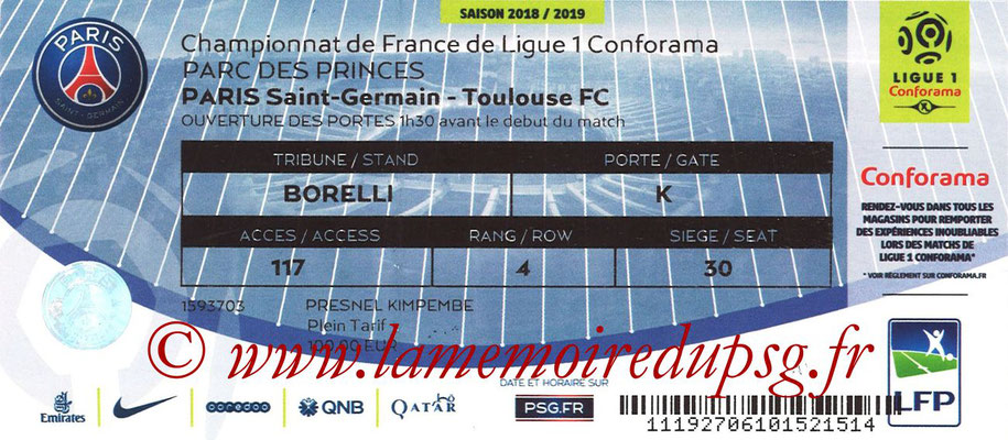 Tickets  PSG-Toulouse  2018-19