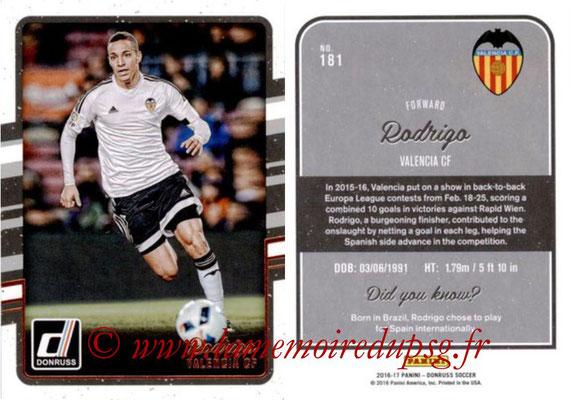 2016 - Panini Donruss Cards - N° 181 - RODRIGO (FC Valence)