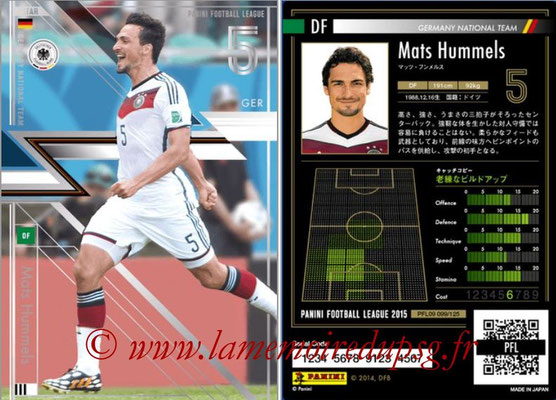 Panini Football League 2015 - PFL09 - N° 099 - Mats HUMMELS (Allemagne) (Star)