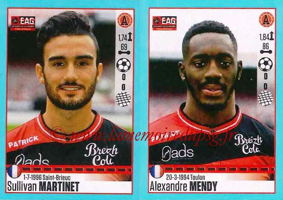 2016-17 - Panini Ligue 1 Stickers - N° 250 + 251 - Sullivan MARTINET + Alexandre MENDY (Guingamp)