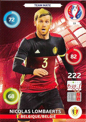 Panini Euro 2016 Cards - N° 033 - Nicolas LOMBAERTS (Belgique)
