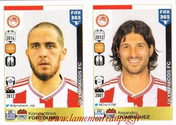 2015-16 - Panini FIFA 365 Stickers - N° 532-536 - Konstantinos FORTOUNIS + Alejandro DOMINGUEZ (Olympiacos FC)