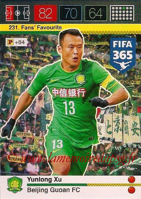 2015-16 - Panini Adrenalyn XL FIFA 365 - N° 231 - Yunlong XU (Beijing Guoan FC) (Fans' Favourite)