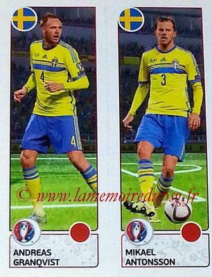 Panini Euro 2016 Stickers - N° 545 - Andreas GRANQVIST + Mikael ANTONSSON (Suède)