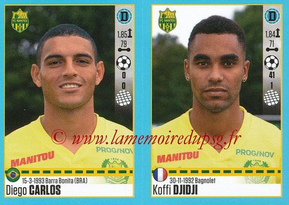 2016-17 - Panini Ligue 1 Stickers - N° 610 + 611 - Diego CARLOS + Koffi DJIDJI (Nantes)
