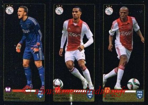 2015-16 - Panini FIFA 365 Stickers - N° 653-654-655 - Jasper CILLESSEN + Ricardo van RHIJN + Thulani SERERO (AFC Ajax)