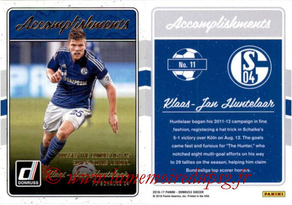 2016 - Panini Donruss Cards - N° A11 - Klaas-Jan HUNTELAAR (FC Schalke 04) (Accomplishments)