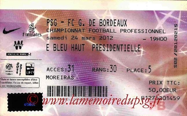 Tickets  PSG-Bordeaux  2011-12