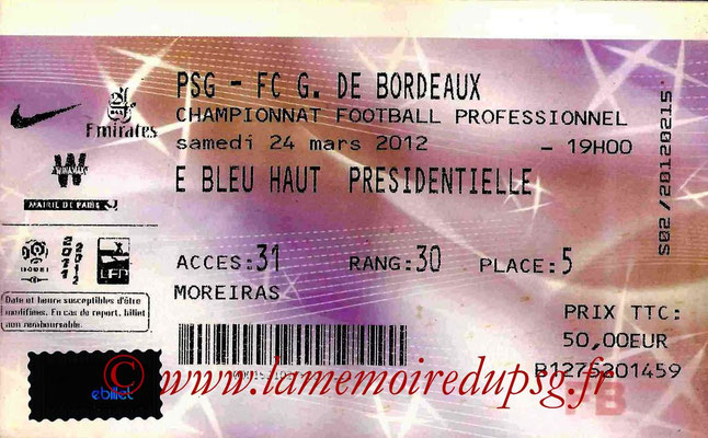 Tickets  PSG-Bordeaux  2011-12