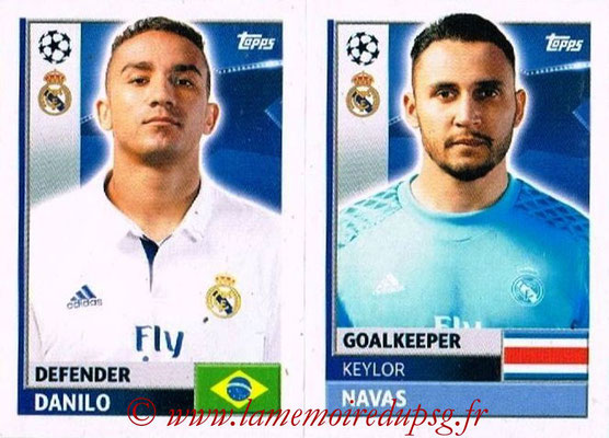 2016-17 - Topps UEFA Champions League Stickers - N° REA 4-5 - Keylor NAVAS + DANILO (Real Madrid CF)