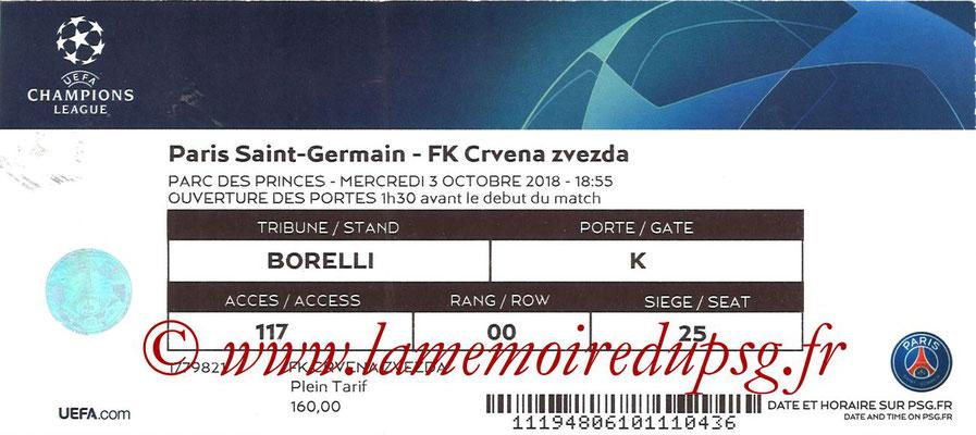 Ticket  PSG-Etoile Rouge de Belgrade  2018-19