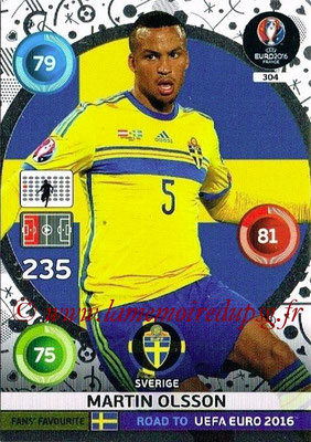 Panini Road to Euro 2016 Cards - N° 304 - Martin OLSSON (Suède) (Fans' Favorite)
