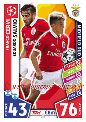 2017-18 - Topps UEFA Champions League Match Attax - N° 216 - Franco CERVI + Eduardo SALVIO (SL Benfica) (Midfield Duo)