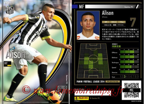 Panini Football League 2014 - PFL06 - N° 074 - ALISON (Santos FC) (Star +)