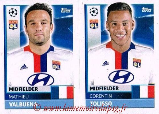 2016-17 - Topps UEFA Champions League Stickers - N° LYO 14-15 - Corentin TOLISSO + Mathieu VALBUENA (Olympique Lyonnais)
