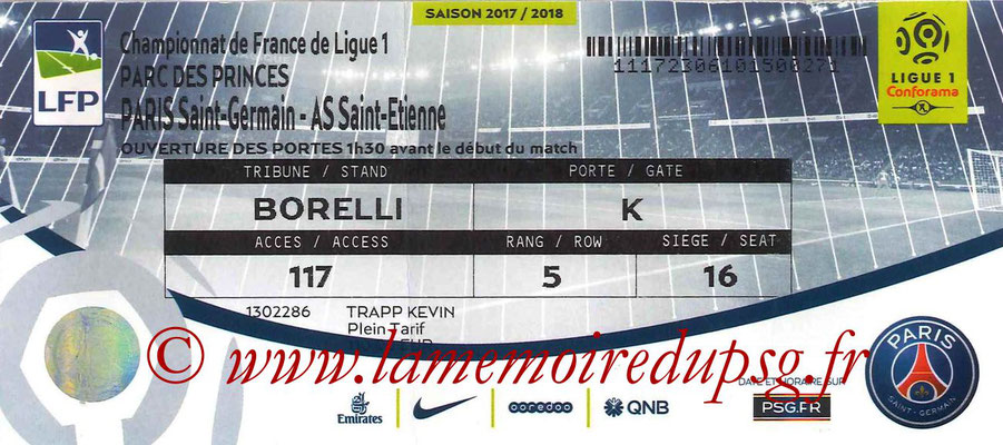 Tickets  PSG-Saint Etienne   2017-18