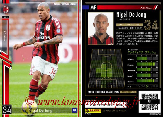 Panini Football League 2015 - PFL12 - N° 004 - Nigel DE JONG (Milan AC)