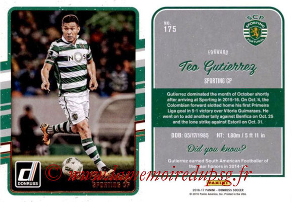 2016 - Panini Donruss Cards - N° 175 - Teo GUTIERREZ (Sporting CP)
