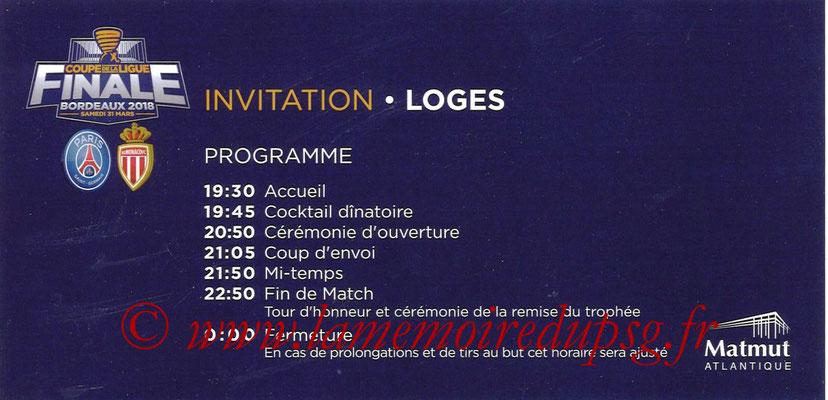 Programme Loges PSG-Monaco  2017-18