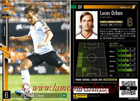 Panini Football League 2015 - PFL09 - N° 049 - Lucas ORBAN (FC Valence)