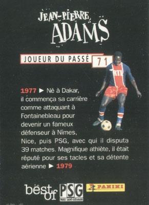 N° 071 - Jean-Pierre ADAMS (Verso)