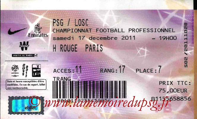 Tickets  PSG-Lille  2011-12