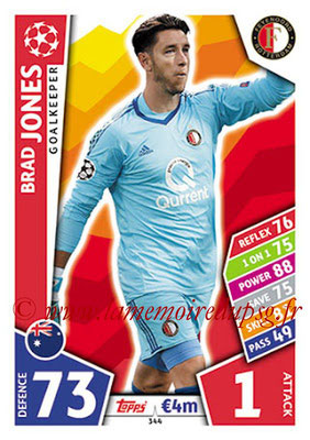 2017-18 - Topps UEFA Champions League Match Attax - N° 344 - Brad JONES (Feyenord)