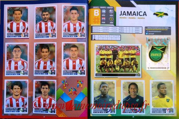 Panini Copa America Chile 2015 Stickers - Pages 24 et 25 - Paraguay et Jamaïque