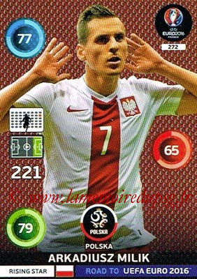 Panini Road to Euro 2016 Cards - N° 272 - Arkadiusz MILIK (Pologne) (Rising Star)