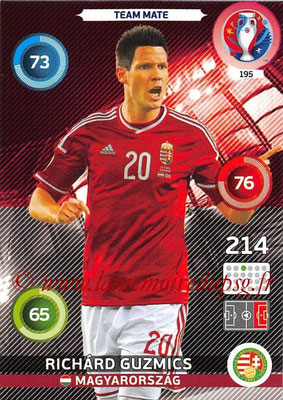 Panini Euro 2016 Cards - N° 195 - Richard GUZMICS (Hongrie)