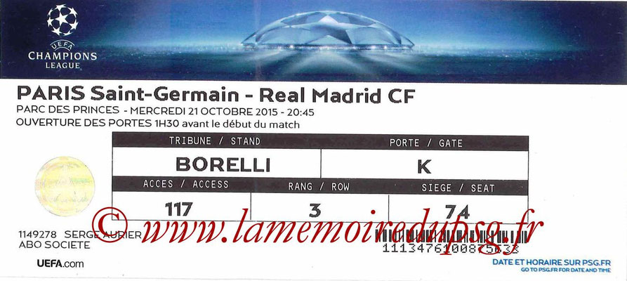 Tickets  PSG-Real Madrid  2015-16