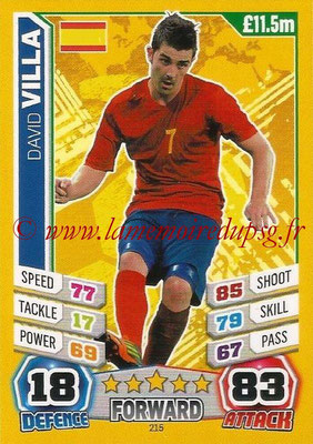 Topps Match Attax England 2014 - N° 215 - David VILLA (Espagne)