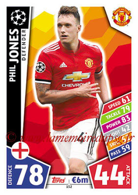 2017-18 - Topps UEFA Champions League Match Attax - N° 152 - Phil JONES (Manchester United)
