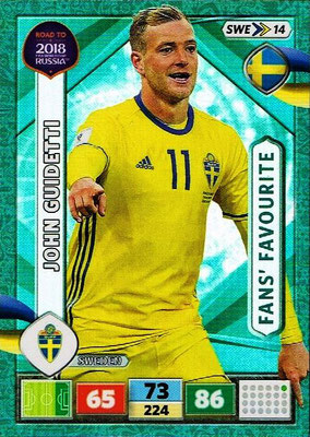 2018 - Panini Road to FIFA World Cup Russia Adrenalyn XL - N° SWE14 - John GUIDETTI (Suède) (Fans' Favourite)