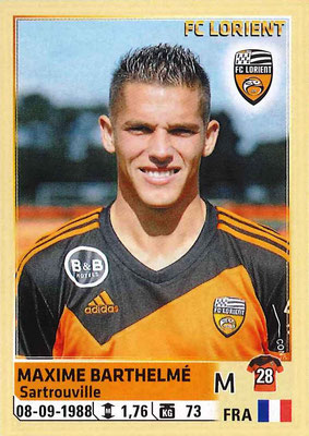2014-15 - Panini Ligue 1 Stickers - N° 180 - Maxime BARTHELME (FC Lorient)