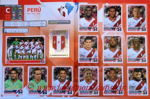 Panini Copa America Chile 2015 Stickers - Pages 34 et 35 - Pérou