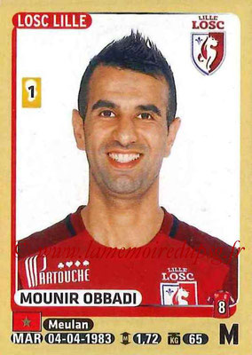 2015-16 - Panini Ligue 1 Stickers - N° 161 - Mounir OBBADI (Lille OSC)