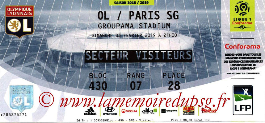 Ticket  Lyon-PSG  2018-19