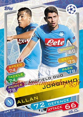2016-17 - Topps UEFA Champions League Match Attax - N° NAP18 - JORGINHO + ALLAN (SSC Naples) (Midfield Duo)