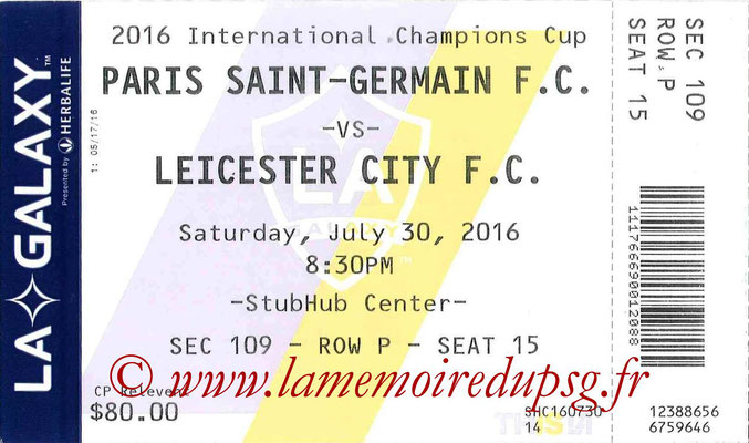 Ticket  PSG-Leicester City  2016-17