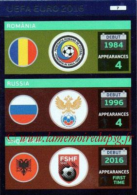 Panini Euro 2016 Cards - N° 007 - Equipes Roumanie + Russie + Albanie
