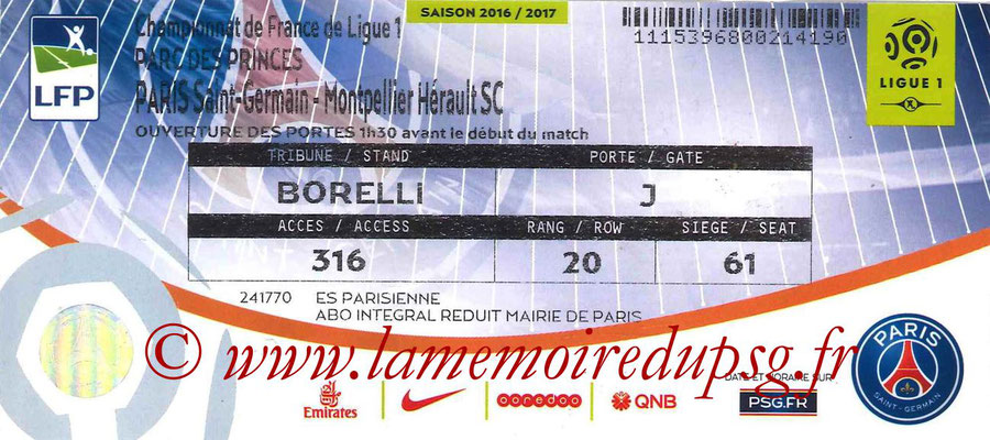 Tickets  PSG-Montpellier  2016-17