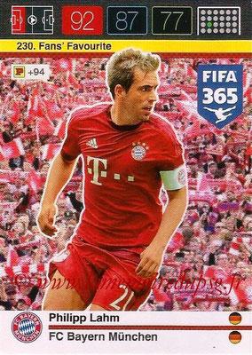 2015-16 - Panini Adrenalyn XL FIFA 365 - N° 230 - Philippe LAHM (FC Bayern Munich) (Fans' Favourite)