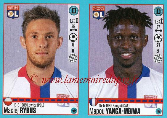 2016-17 - Panini Ligue 1 Stickers - N° 364 + 365 - Maciej RYBUS + Mapou YANGA-MBIWA (Lyon)