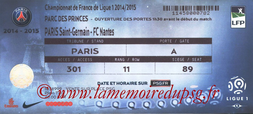 Tickets  PSG-Nantes  2014-15