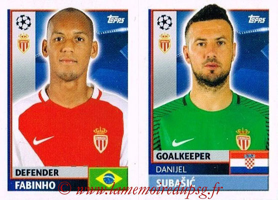2016-17 - Topps UEFA Champions League Stickers - N° QFH 3-4 - Daniel SUBASIC + FABINHO (AS Monaco)